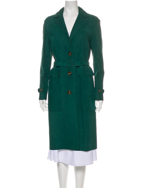 Burberry London Lamb Leather Trench Coat Green