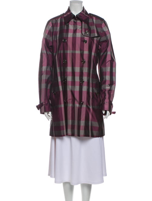 Burberry London Plaid Print Trench Coat Purple