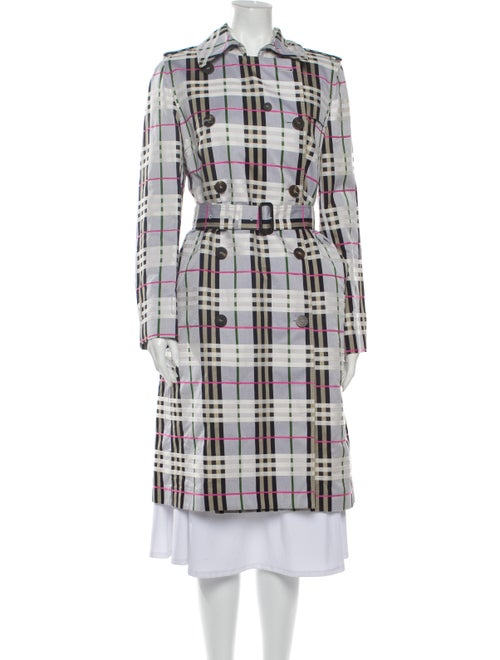 Burberry London Plaid Print Trench Coat Grey