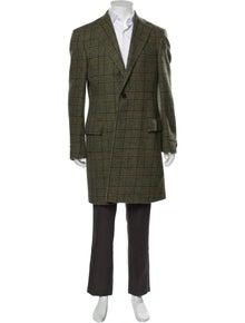 Burberry London Wool Houndstooth Print Overcoat
