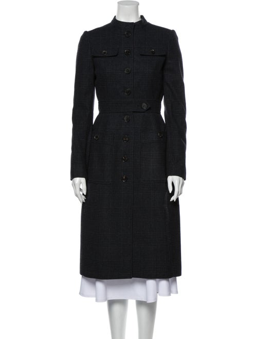 Burberry London Virgin Wool Plaid Print Trench Coa