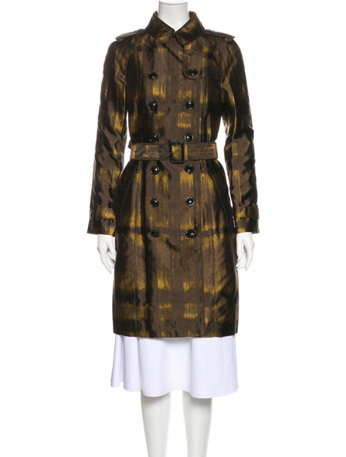 Burberry London Plaid Print Trench Coat Brown