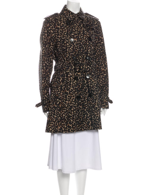 Burberry London Animal Print Trench Coat Black