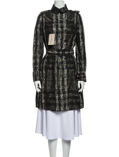 Burberry London Houndstooth Print Trench Coat Blac
