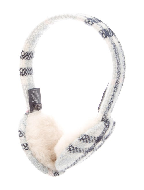 Burberry London Shearling-Trimmed Check Earmuffs b