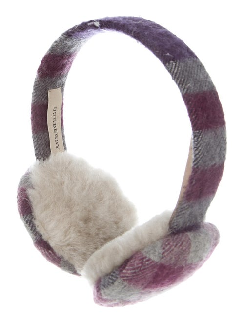 Burberry London Cashmere Check Ear Muffs Purple