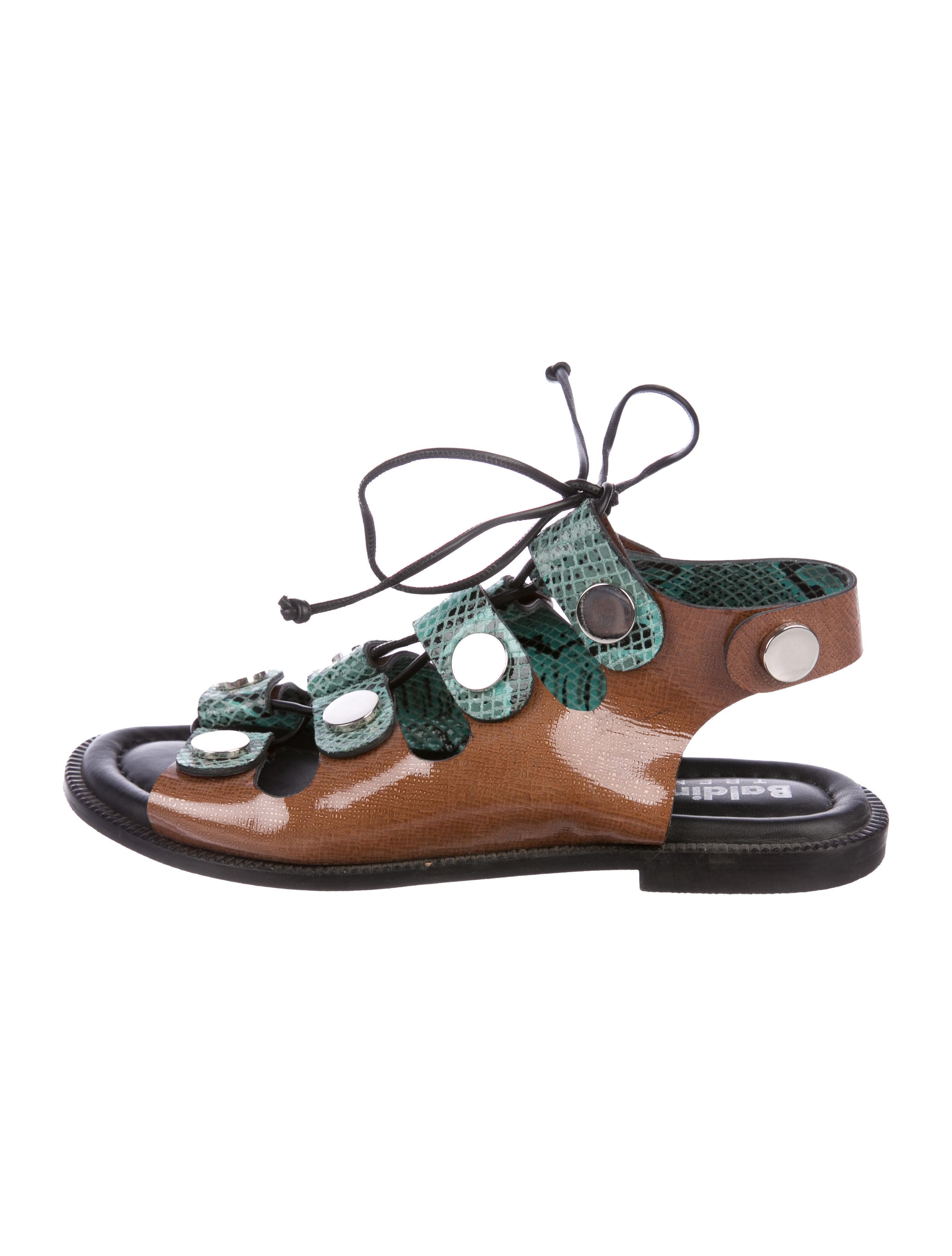 Baldinini Patent Leather Lace-Up Sandals cheap low shipping discount factory outlet tryPa