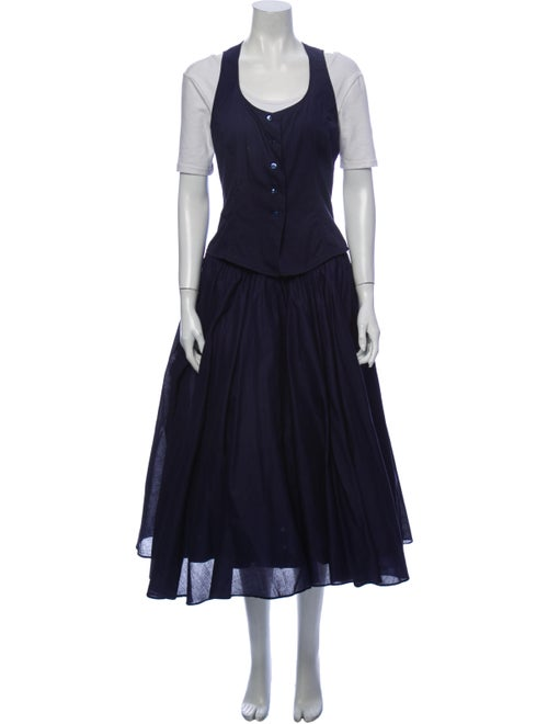 Byblos Pleated Accents Skirt Set Blue