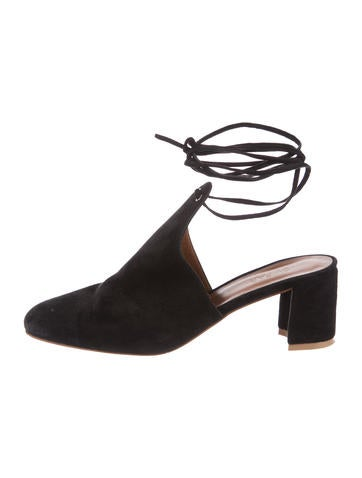 By Far Suede Round-Toe Mules None