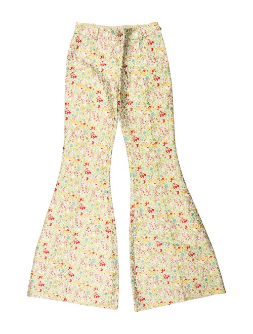 Bonnie Young Silk Jacquard Mid-Rise Pants w/ Tags