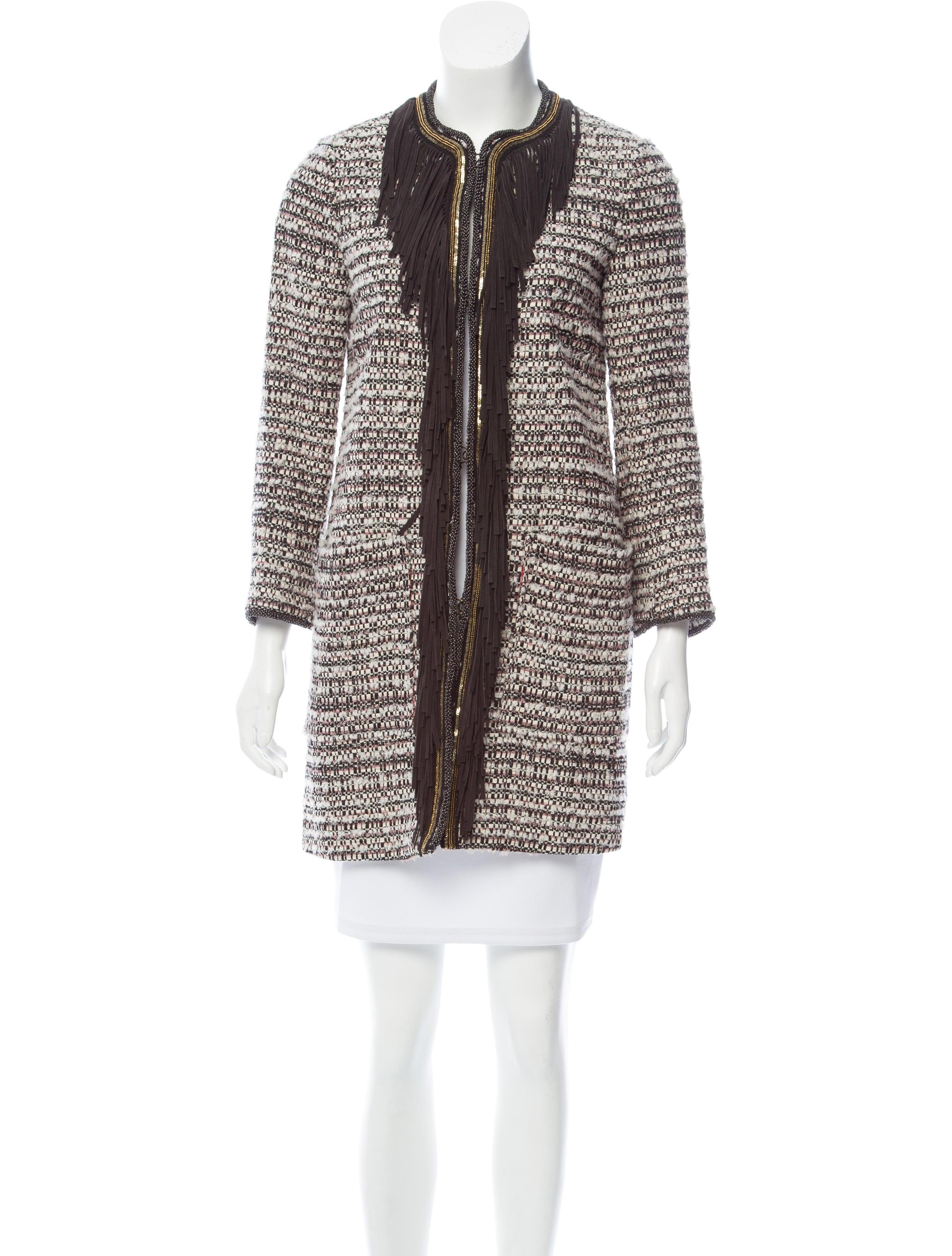 a4487540b0 Bazar Deluxe Fringe-Trimmed Tweed Coat - Clothing - WBZAR20010