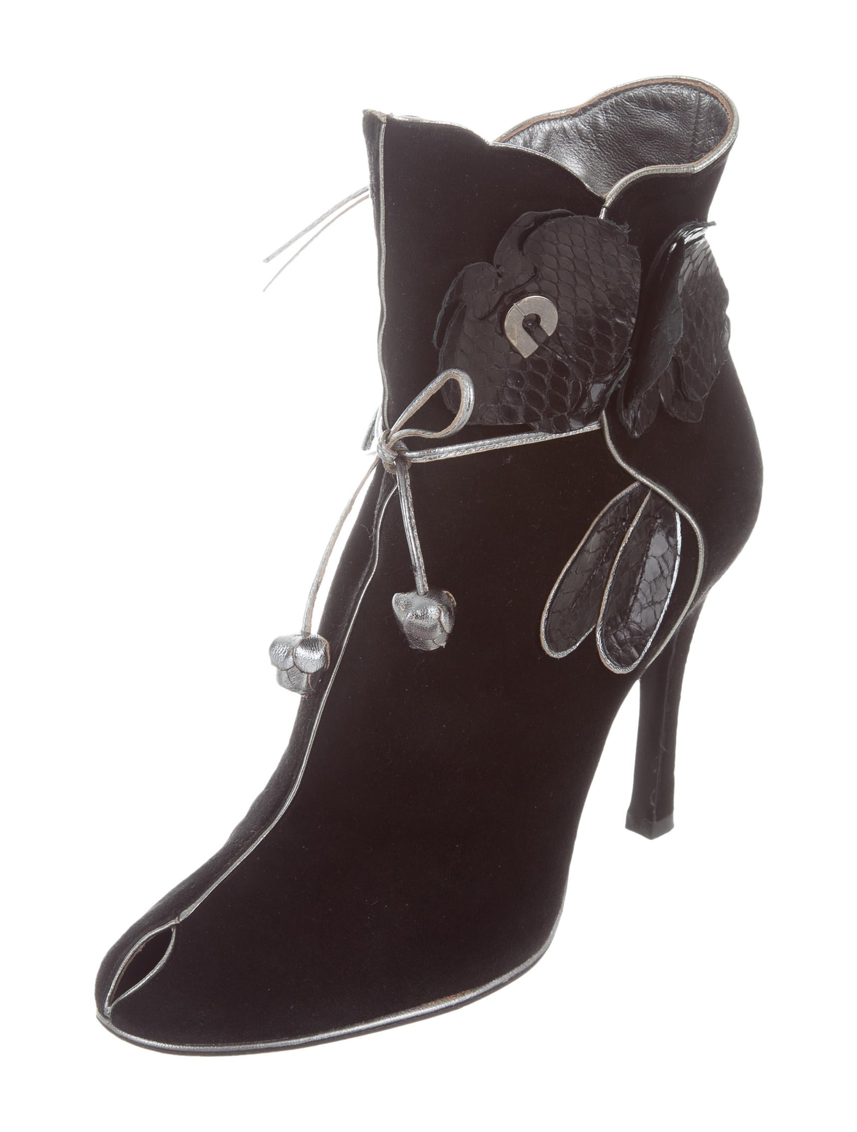 charles jourdan suede peep toe ankle boots shoes