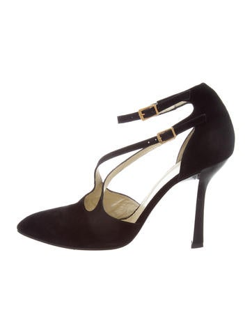 Charles Jourdan Suede Ankle Strap Pumps None