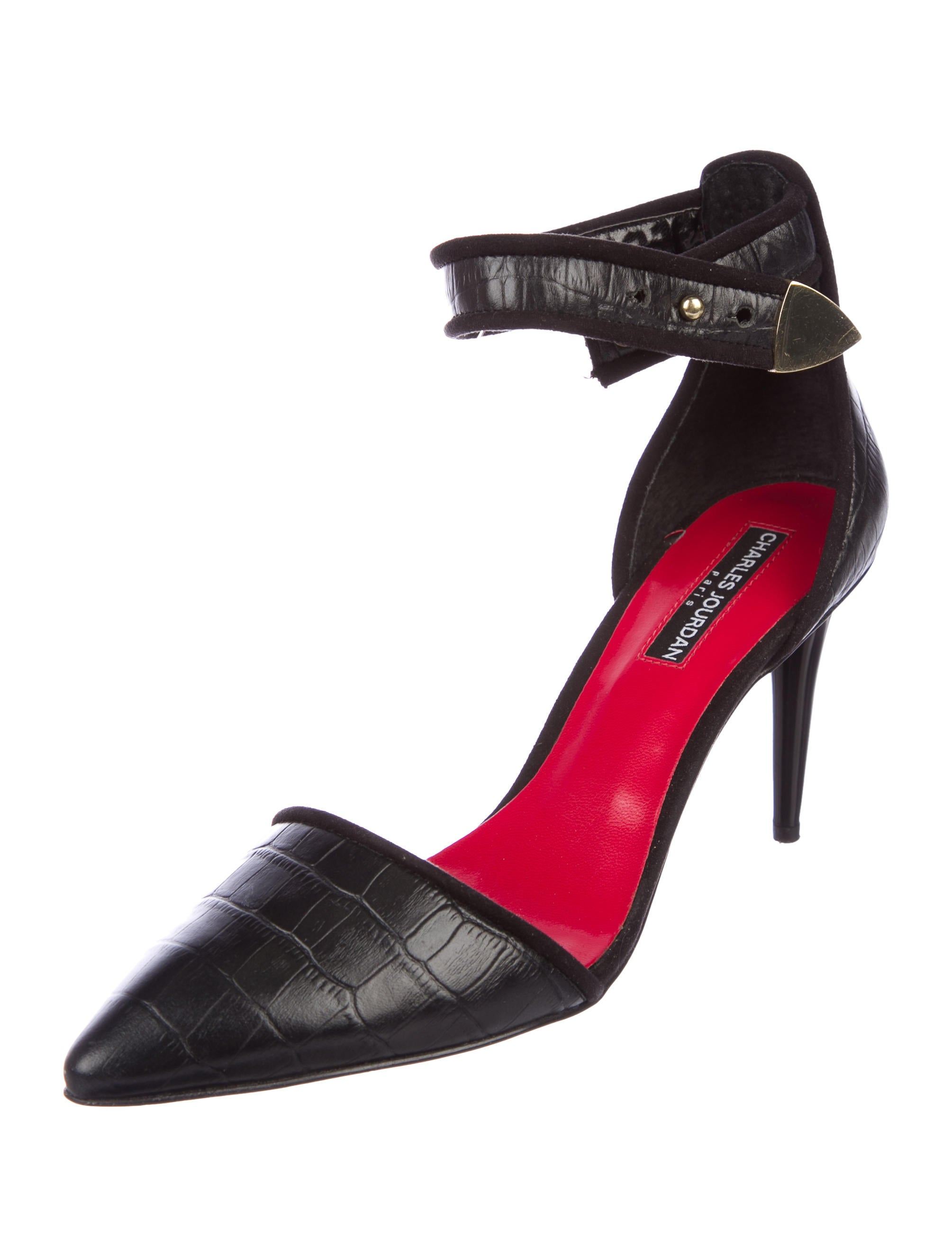 Charles Jourdan Embossed Ankle Strap Pumps 2015 new cheap price IhXMisBa