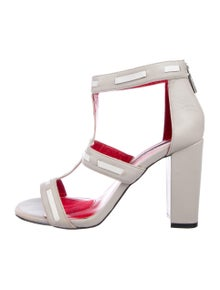 39e13fe675d1 Charles Jourdan. Leather Peep-Toe Sandals