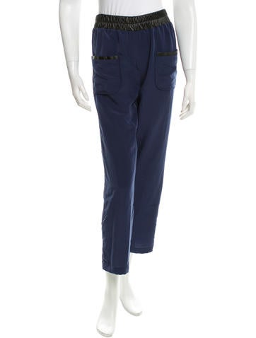 Cut25 by Yigal Azrouël Leather-Accented Silk Pants w/ Tags