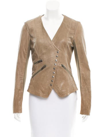 Cut25 by Yigal Azrouël Leather Lace-Up Jacket None