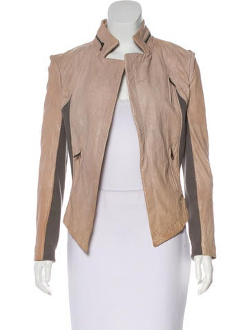 Cut25 by Yigal Azrouël Rib Knit-Trimmed Leather Jacket None