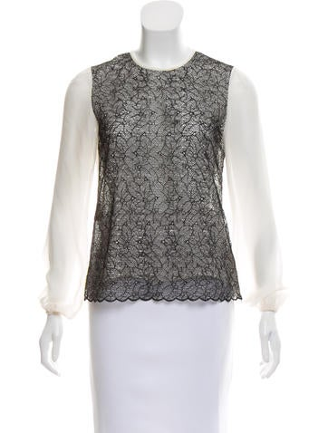 Silk Lace-Accented Top