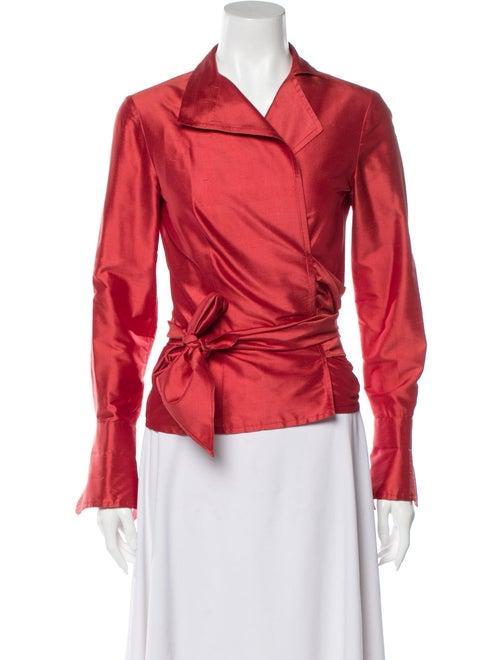 CH Carolina Herrera Silk Long Sleeve Blouse Red