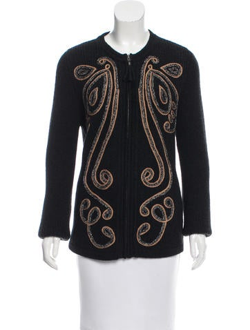 Calypso Wool-Blend Applique Sweater w/ Tags None