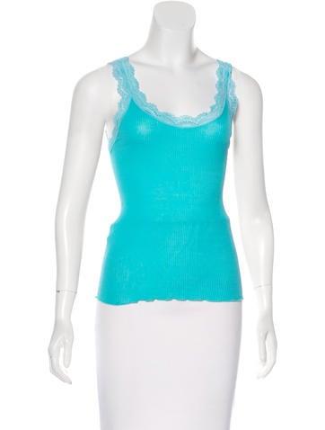 Calypso Lace-Trimmed Rib Knit Top None