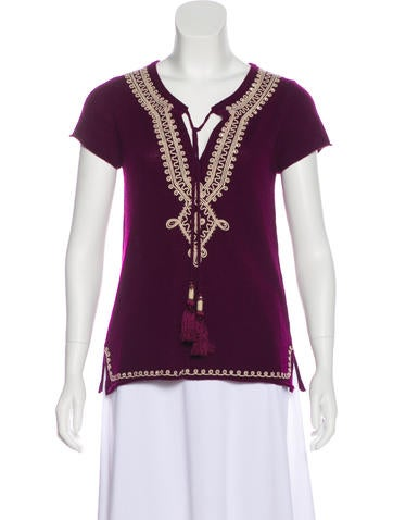 Embroidered Cashmere Top