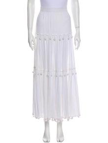 Calypso Pom-Pom Embellishments Midi Length Skirt