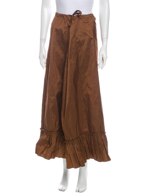 Calypso Silk Midi Length Skirt Brown