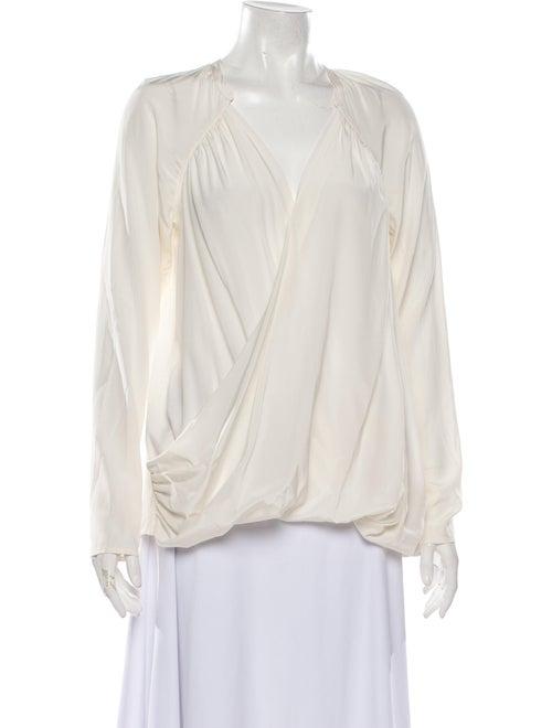 Calypso Silk V-Neck Blouse White