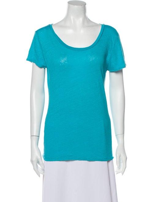 Calypso Linen Scoop Neck T-Shirt Blue