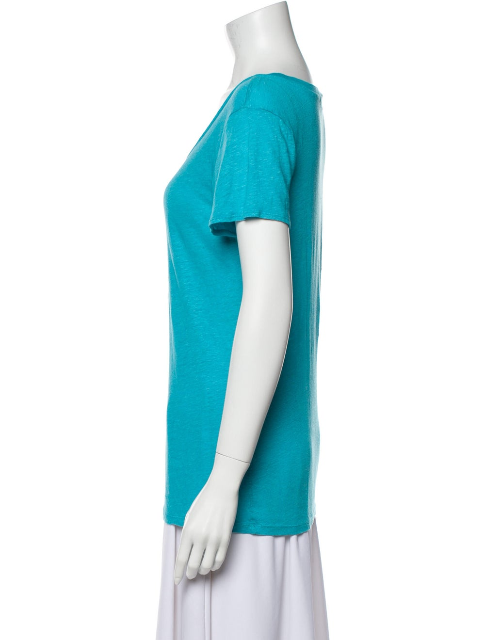 Calypso Linen Scoop Neck T-Shirt Blue - image 2