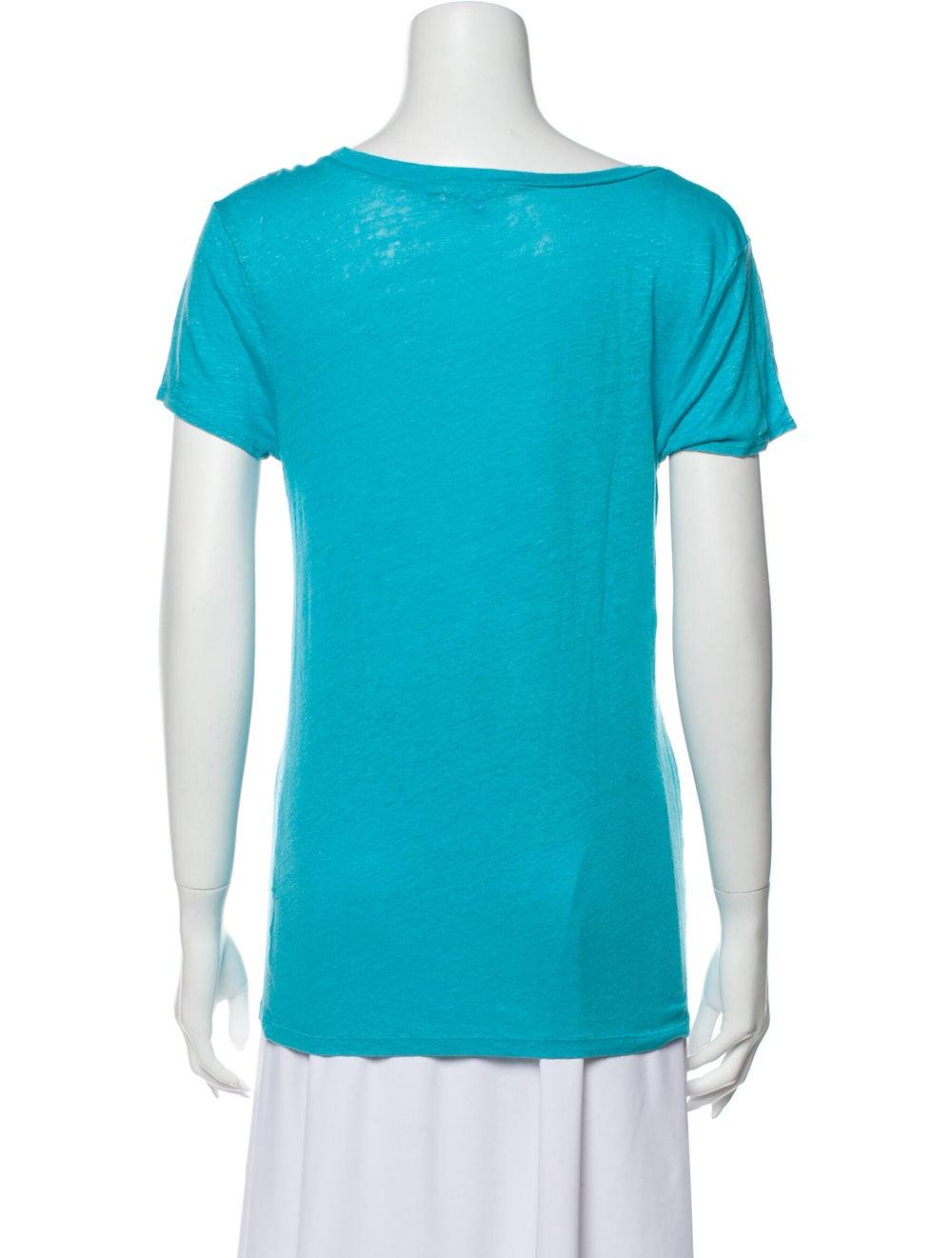 Calypso Linen Scoop Neck T-Shirt Blue - image 3