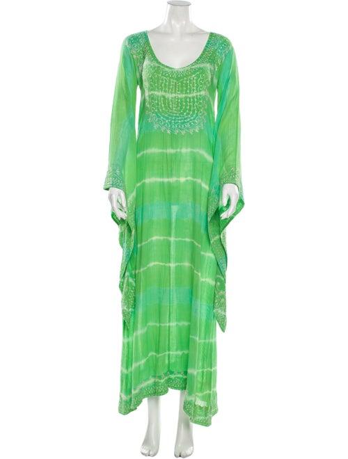Calypso Tie-Dye Print Long Dress Green
