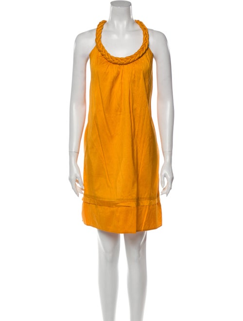 Calypso Silk Knee-Length Dress Orange
