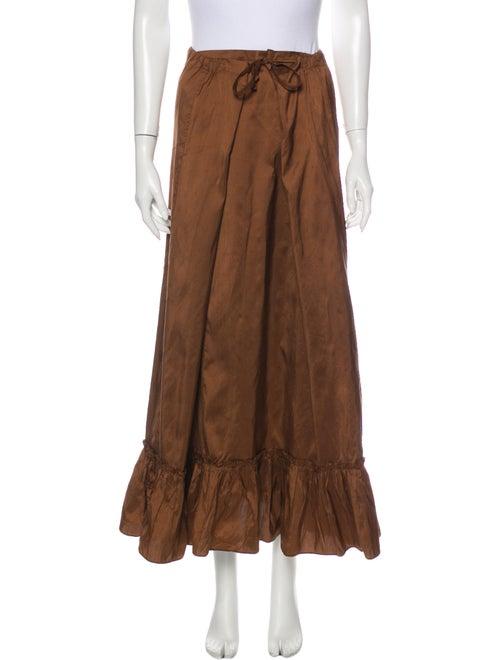 Calypso Silk Long Skirt Brown