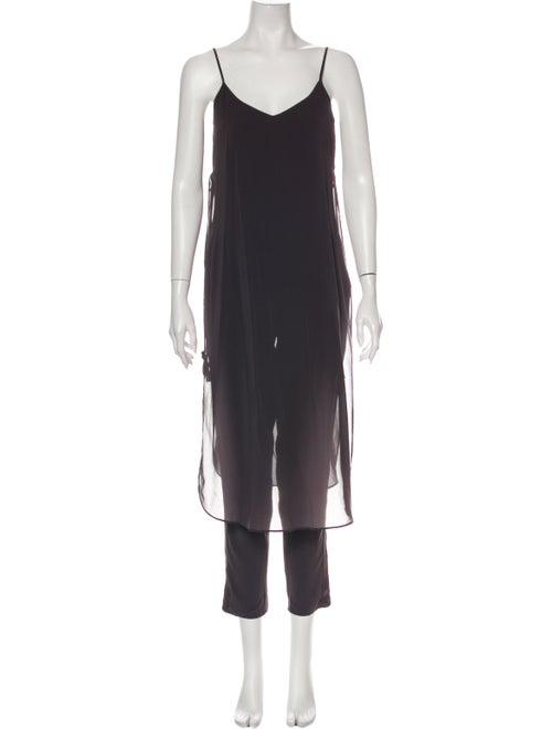 Calypso Silk V-Neck Jumpsuit Grey