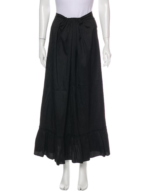 Calypso Silk Midi Length Skirt Black