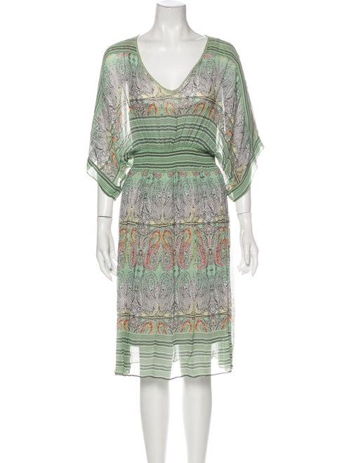 Calypso Silk Knee-Length Dress Green