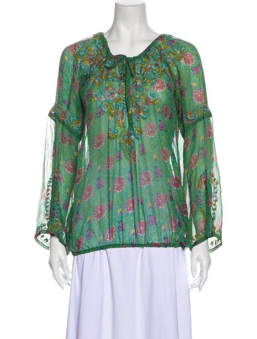 Calypso Silk Floral Print Blouse Green