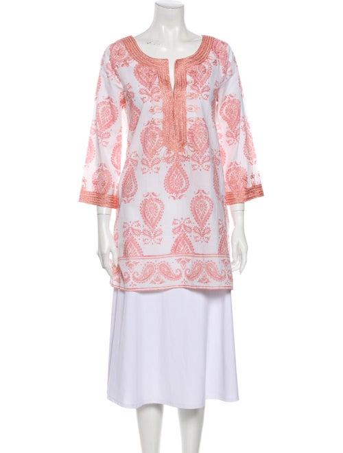 Calypso Paisley Print Mini Dress Metallic