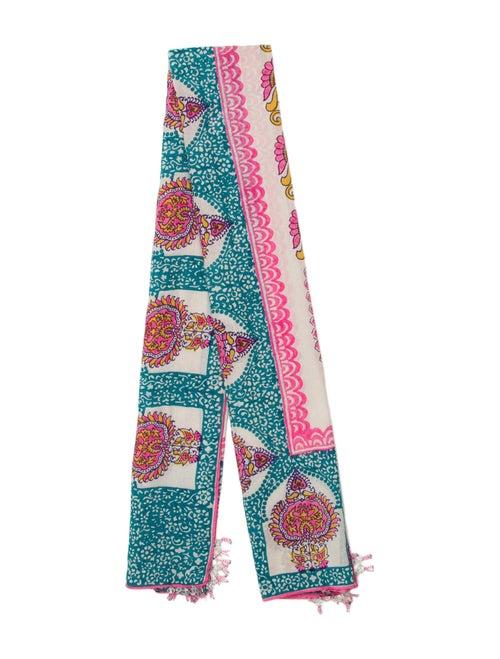 Calypso Knit Print Scarf White