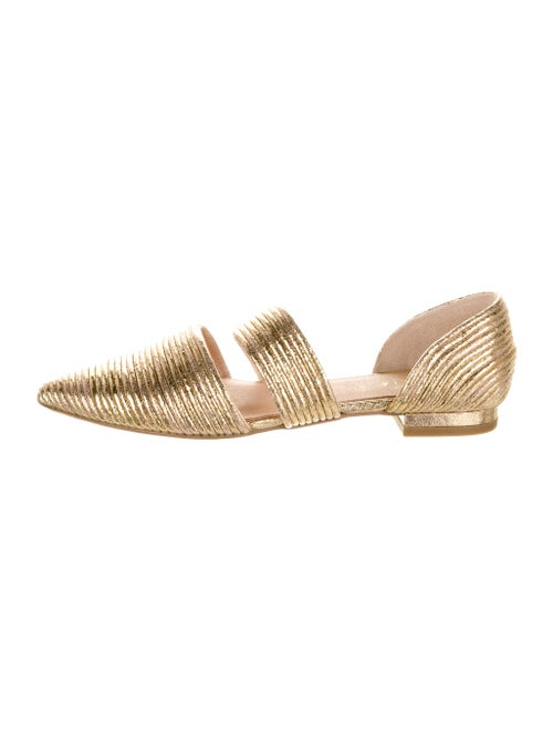 Cecelia Leather D'Orsay Flats Gold