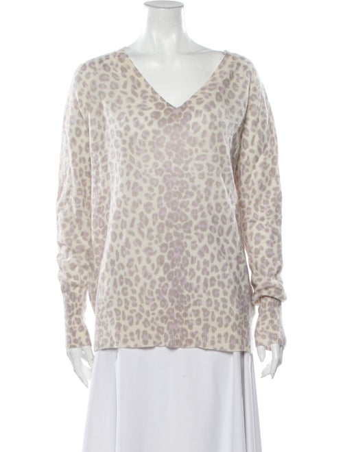 360 Cashmere Cashmere Animal Print Sweater Purple