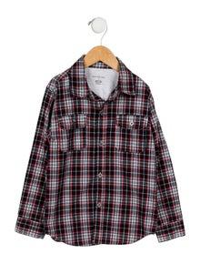 Calvin Klein Jeans Boys' Plaid Collared Shirt