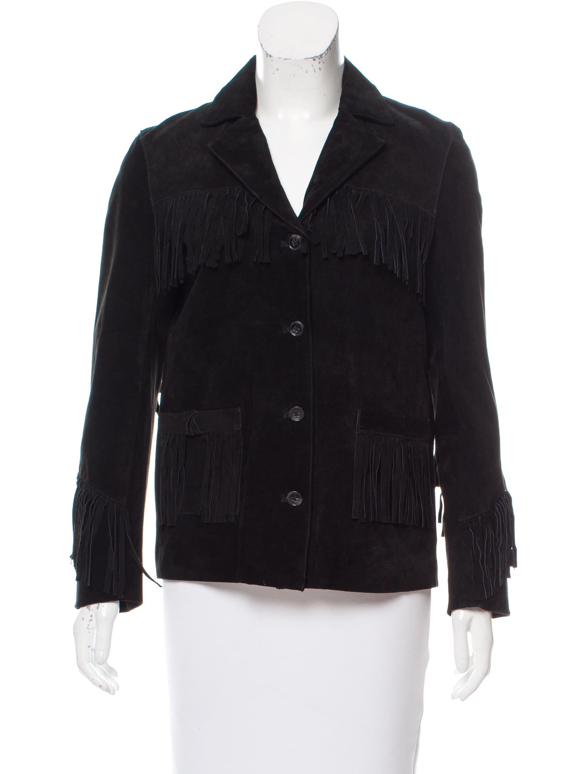 $ Long Fringe Embroidered Coat Boar suede #67 Espresso. This classic stylish coat features a silver thread design with turquoise studs. It has hidden side entry pockets and a hook and eye closure.