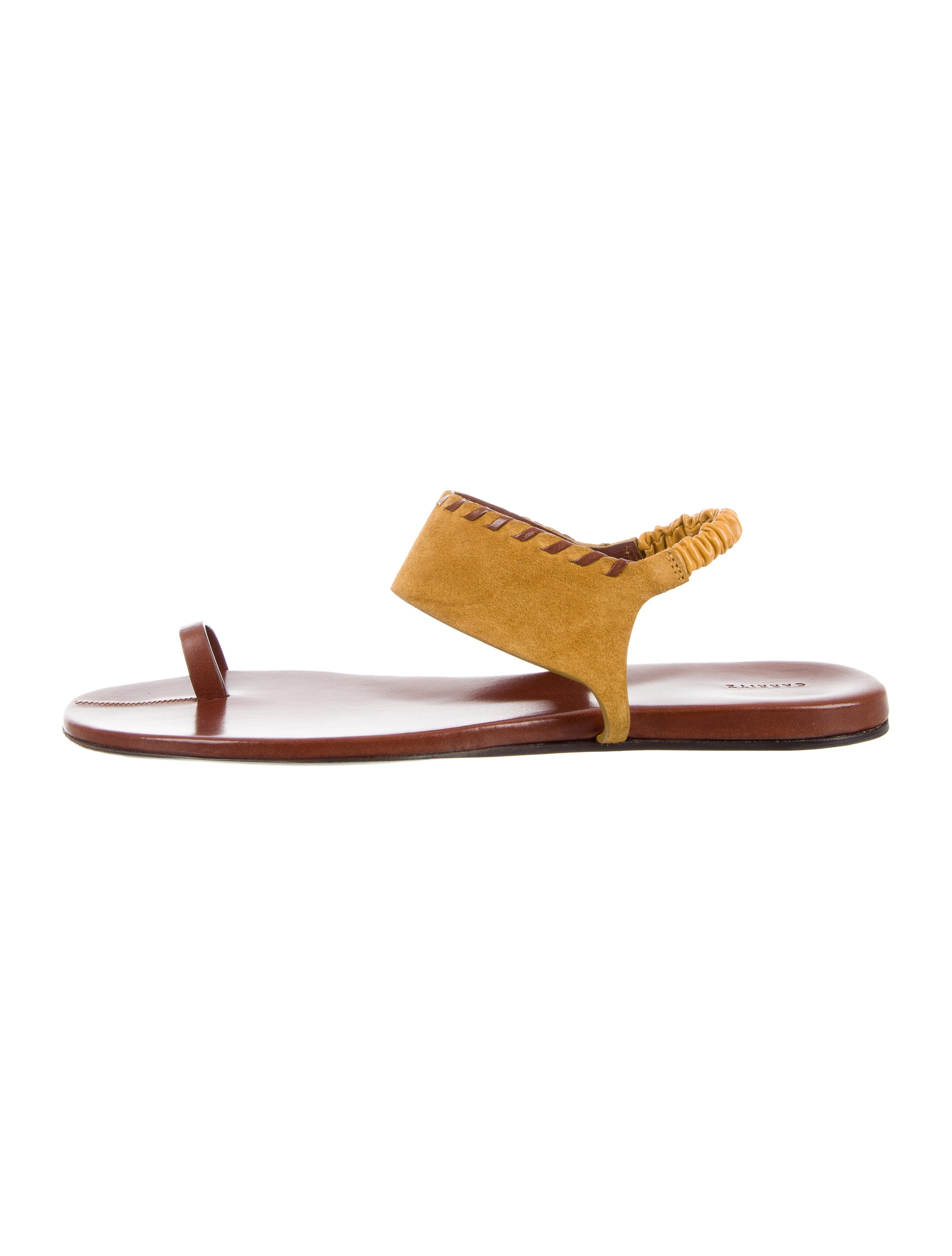 Carritz Leather-Trimmed Suede Sandals w/ Tags clearance how much gNS0Z