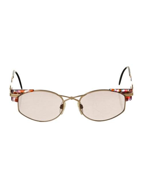 Cazal Round Mirrored Sunglasses Gold