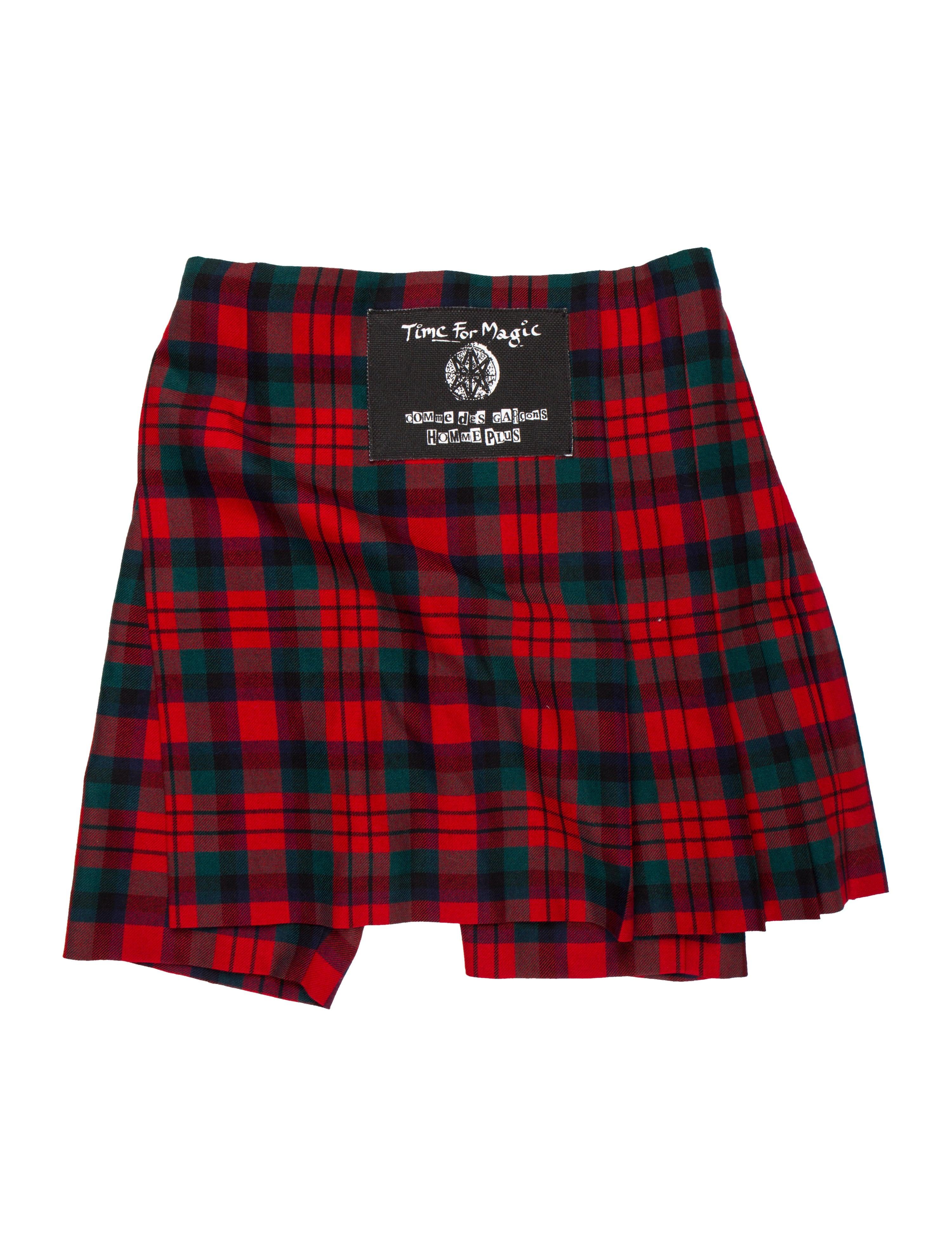 2e9483ef12c202 Comme des Garçons Homme Plus Pleated Skirt-Accented Plaid Shorts w ...