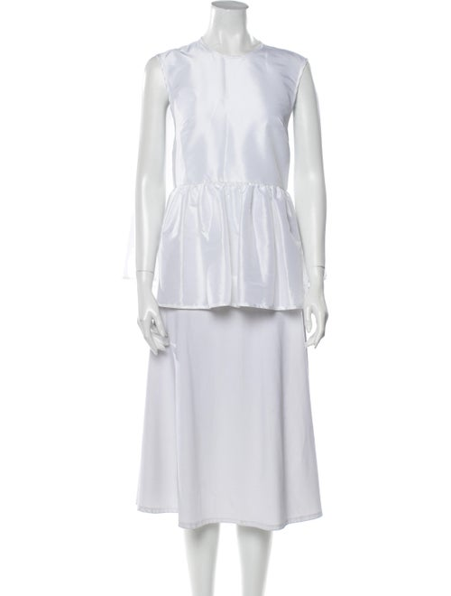 Cecilie Bahnsen Crew Neck Sleeveless Tunic White